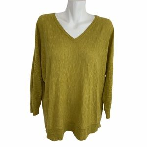 Eileen Fisher linen v-neck oversized top mustard